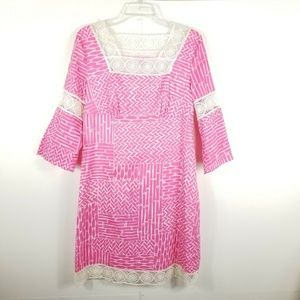 Lilly Pulitzer  Pink White Bamboo Tunic